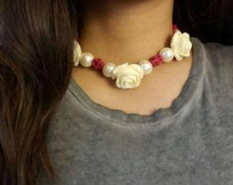 Rose+skulls pearl necklace