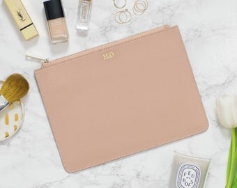 Saffiano Leather Nude Pouch Monogram Personalised