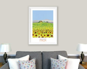 POSTER Tuscany, Italy. Print of an original collage. Countryside, cypress trees, tuscan villa, sunflowers. Wall decor, home decor.