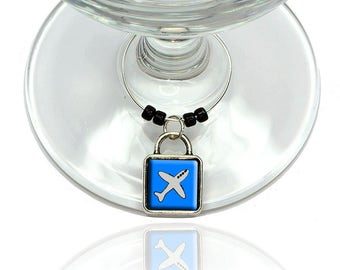 Plane Airplane Travel Flying Wine Glass Drink Marker Charm Ring