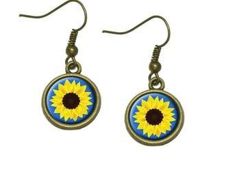 Sunflower Blue Background Dangle Dangling Drop Earrings