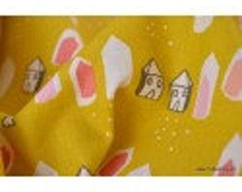 Tissu coton imprimé petites maisons x50cm