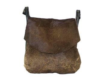 80's Style Cross Body Cowhide Bag   Grey
