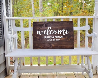 Wedding sign, welcome, bride and grooms names, wedding date, wedding decor, wedding wall hanging, welcome to our wedding, wedding welcome