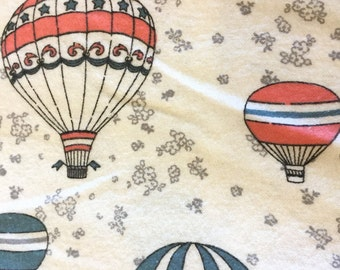 Hot Air Balloon Flannel by the Yard Turquoise and Pink Flannel Material - Aqua Blue Fabric - Flannel Fabric Novelty Print for Girls Nursery