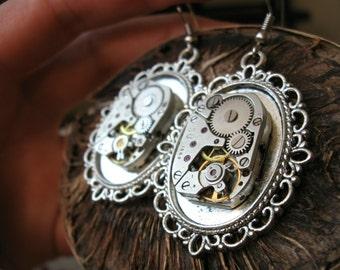 Steampunk earrings Steampunk jewelry Watch movements Neo victorian Womans Gears Filigree Industrial earrings Gift Idea Steampunk women