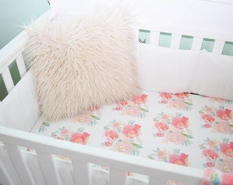 Floral bedding, peach floral, pink, blush, large bloom, girl bedding, watercolor flower, coral pink, green leaves, crib sheet, skirt, bumper