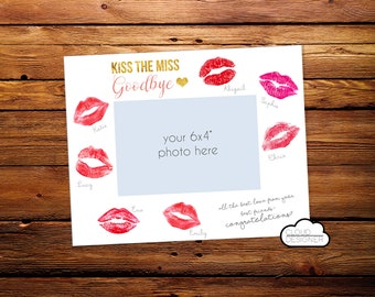 Kiss the Miss Goodbye Photo Mat / Bachelorette Party Sign / Bridal Shower Party Sign / Printable