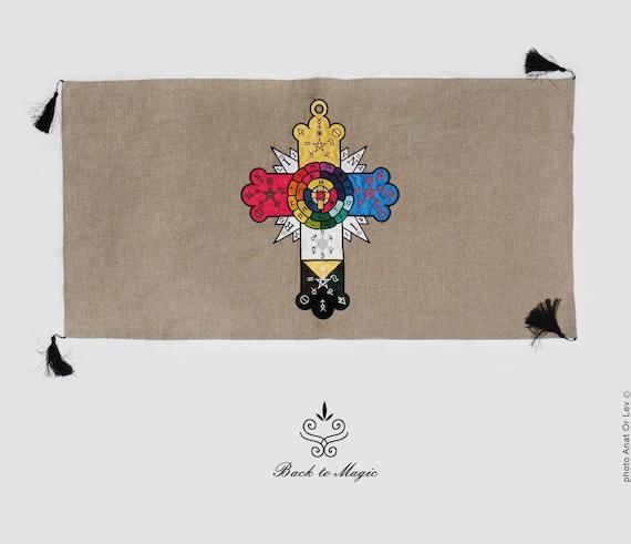 Magic Cloth Canadian Tire: Embroidered Rosicrucian Rose Cloth. Tarot Cloth. Altar Cloth