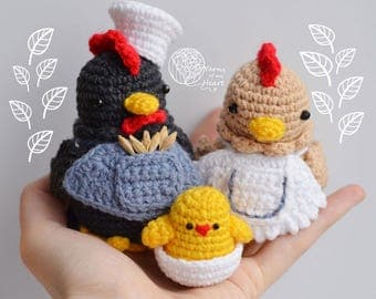 Crochet rooster pattern, rooster crochet pattern, crochet chicken pattern, amigurumi chicken, crochet chicken family