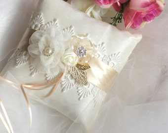 Silk Ring Pillow, Lace Ring Pillow, Flower Ring Pillow, Ivory Wedding Ring Pillow, Ring Bearer Pillow, Ivory Ring Pillow
