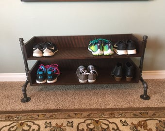 Industrial Pipe Shoe Rack / Reclaimed Wood Shoe Rack / Shoe Rack Organizer / Rustic Shoe Rack