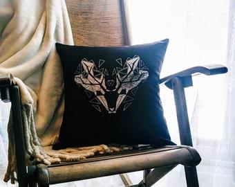 Housse de coussin cerf, housse de coussin noir et argent, imprimé à la main, fait à la main, géométrique
