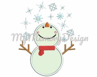 Snowman embroidery design - Christmas embroidery - Christmas applique design - Machine embroidery design - INSTANT DOWNLOAD - 4x4 5x7 6x10