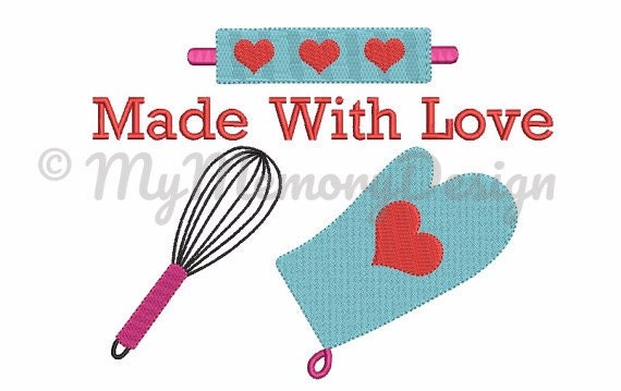 Girl Embroidery Design   Kitchen Embroidery Design   Made With Love Design    Baking Cooking Machine Embroidery   INSTANT DOWNLOAD   3 SIZE