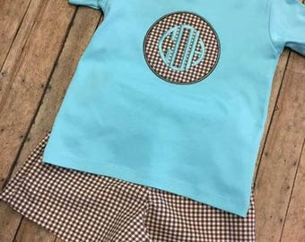 Boys monogrammed shorts set