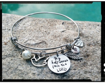 Psalm 121- Charm Bangle//Hand Stamped Scripture Charm//Wing//Dove//Czech Bead - Stainless Steel or Silver Plated - Religious