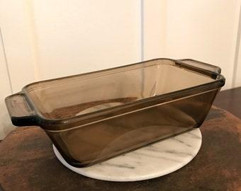 Vintage Smoky Brown Anchor Hocking Large Glass Rectangular Loaf Dish Pan | 9 Inch | 1.5 Quart