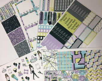 Spring Into Fitness ECLP Weekly Kit Mambi Happy Planner Stickers Check Lists Daily Boxes Washi Strips