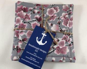 Cherry Blossom Coaster Set, Fabric Coaster Set, Fabric Coasters, Coaster Set, Coasters, Set Of 4 Coasters, Hostess Gift, Cherry Blossom