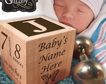 Personalized Baby's First Birthday Wood Block Ornament custom baby gift