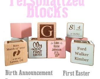 Christening Gift For Boy - Baptism Block - Baptism Gift - Keepsake Custom Engraved wooden baby blocks for newborn girl newborn boy