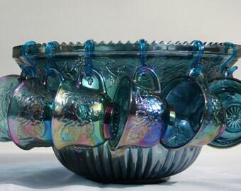Carnival Blue Harvest Punch Bowl Set