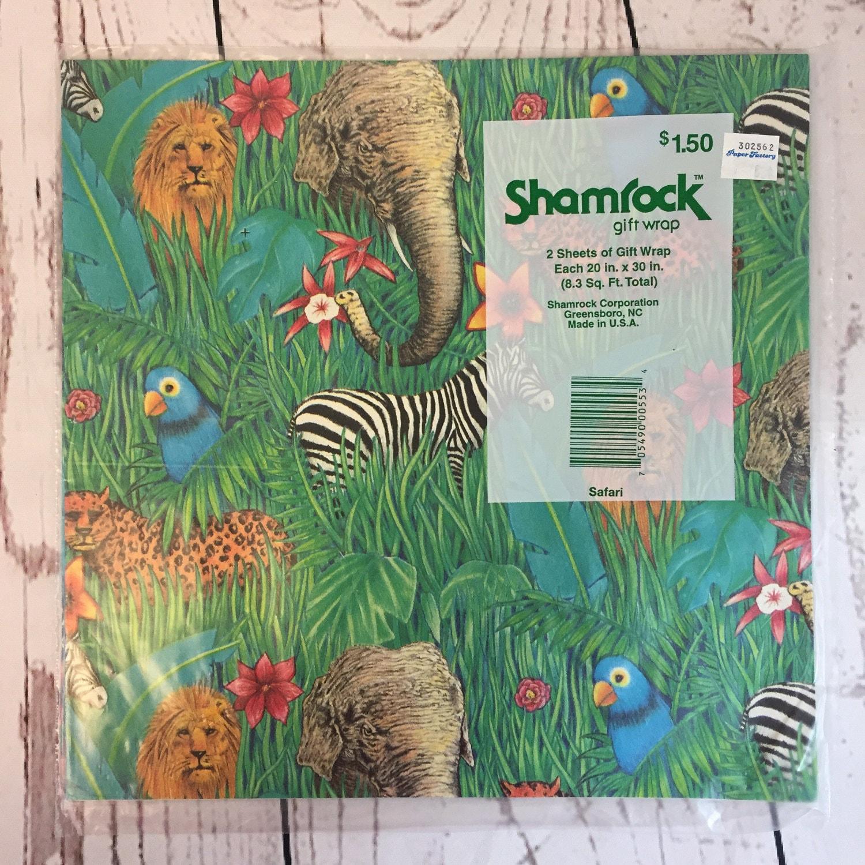 Gift Wrap Sheets Safari African Animals by Shamrock Gift Wrap