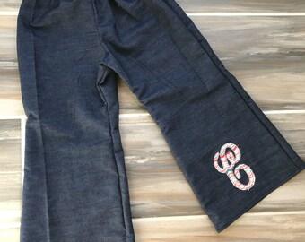 Custom toddler girls denim wide leg pants with appliqué