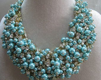 Teal Crystal and Pearl Bib Necklace.