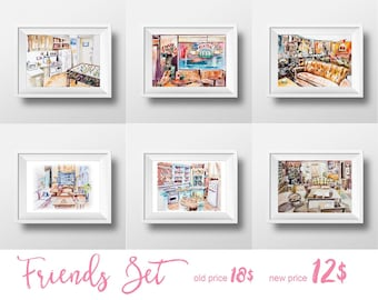 Wall Art Friends TV Show Watercolor Prints Set,Sale,90s Sitcom,Central Perk,Monica Chandler Ross Rachel Joey Phoebe,Printable,Yellow Frame