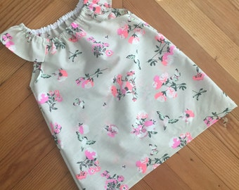 Flutter sleeve dress (fluro pink flower) SIZE 5 ONLY
