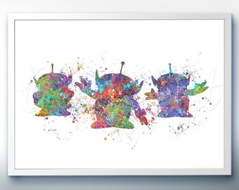 Disney Pixar Toy Story Aliens Little Green Men Watercolor Poster Print - Watercolor Painting - Watercolor Art - Kids Decor- Nursery Decor