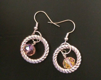 Clearance* Pink crystal earrings