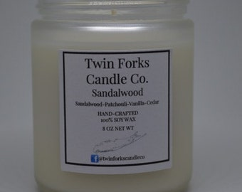 Sandalwood Soy Candle 8oz -jar -home scent candle-fresh scent candle-fresh Scent-home decor