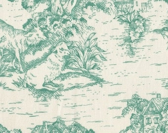 "15"" Full Gathered Bedskirt, Pool Green Toile"