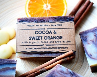 Cocoa and Sweet Orange Soap - Natural Soap, Vegan Soap,Cocoa Butter Soap,Homemade Soap, Cold Process Soap, Orange Soap, Soap Bar ,UK