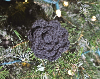 Black Crochet Rose Clip