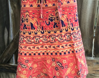 Vintage ethnic Indian block print orange peach cotton boho bohemian short high waist wrap festival skirt