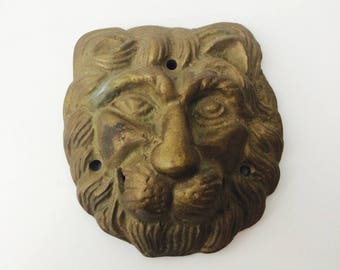 Vintage Solid Brass Lion's Head Door Knocker/Brass Animal/Brass Lion's Head/Brass Paperweight/Brass Home Decor