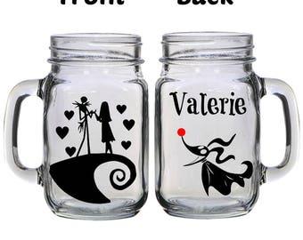 Personalized Nightmare Before Christmas 16oz Glass Mason Jar Mug with Lid & Straw Customizable