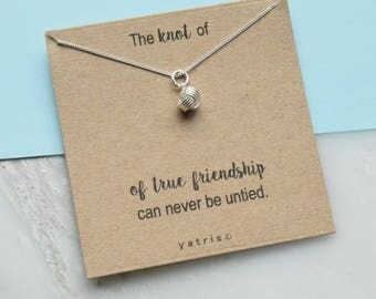 Knot Of True Friendship Personalised Silver Necklace - Friendship Knot - Best Friend Necklace - Silver Knot Necklace - Friend Gift