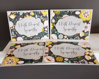 Gray/Floral Sympathy Card Set