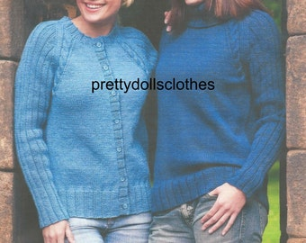 Ladies Sweater and Cardigan Knitting Pattern.