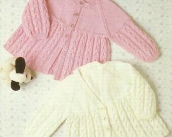 Childrens Matinee Jacket  Knitting Pattern.