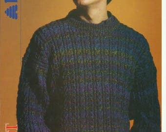pdf Mens Cable Sweater Knitting Pattern.
