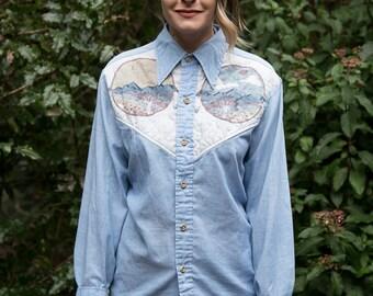 VINTAGE 1980s VERY RARE Buffalo Dreamcatcher Native American Collared Buttonup Shirt