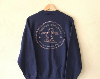 Rare! Vintage DA HUI North Shore Sweatshirt Big Logo Back Small Logo Front Pullover Jumper Hip Hop Swag Navy Colour large size made in USA