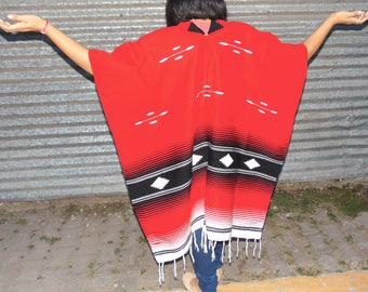 Oversized Poncho, Serape, Navajo Poncho, Wool Poncho, Aztec Poncho, Tribal Poncho, Mexican Poncho, Wool Cape, Wool Cape Coat, Red Poncho
