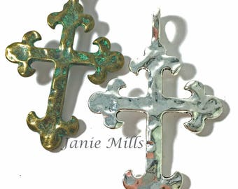 "Cross Pewter Hammered 2"" x 3"""